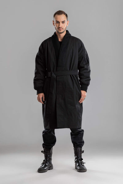 MDNT45 Coats & Jackets for Man Black kimono coat