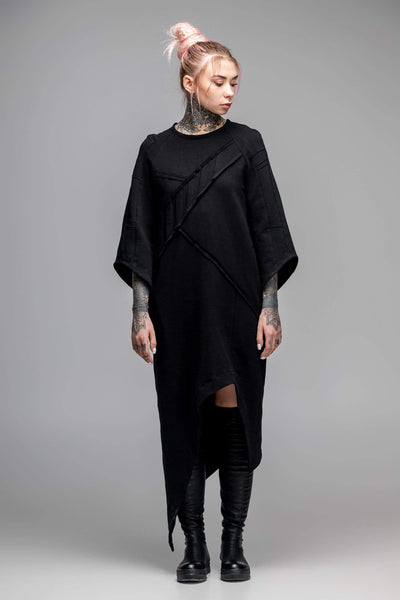 MDNT45 Dresses Asymmetric oversized black dress