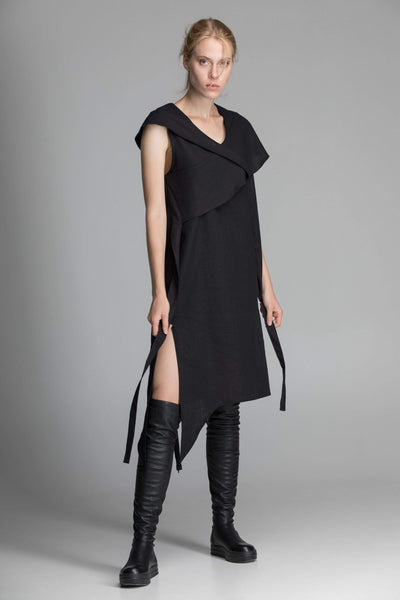 MDNT45 Dresses Linen Black Asymmetric Dress