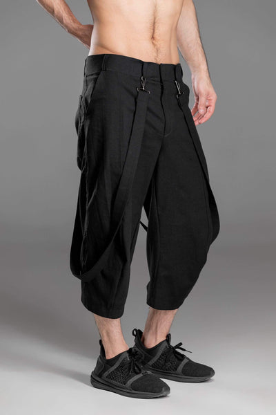 MDNT45 Pants Black linen men shorts with suspenders
