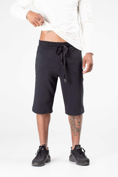 MDNT45 Pants Men black summer shorts with zipped pockets