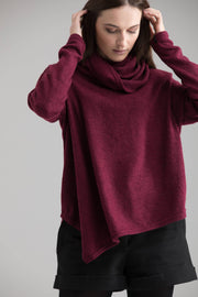 MDNT45 Sweaters, Tunics & Tops Oversize asymmetrical long red sweater