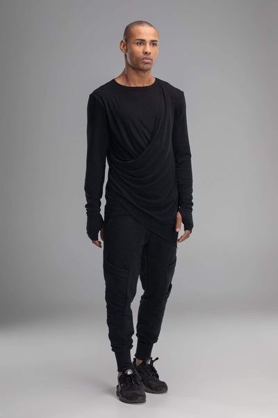 MDNT45 Tops & T-shirts Black draped jumper