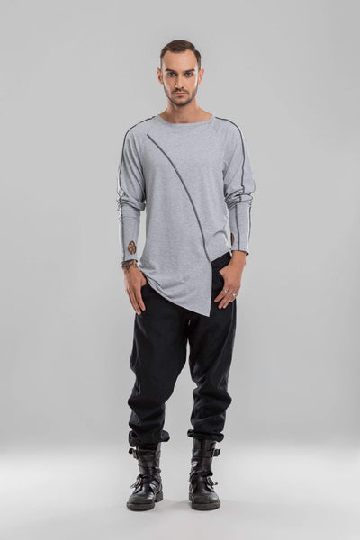 MDNT45 Tops & T-shirts Grey asymmetric jumper