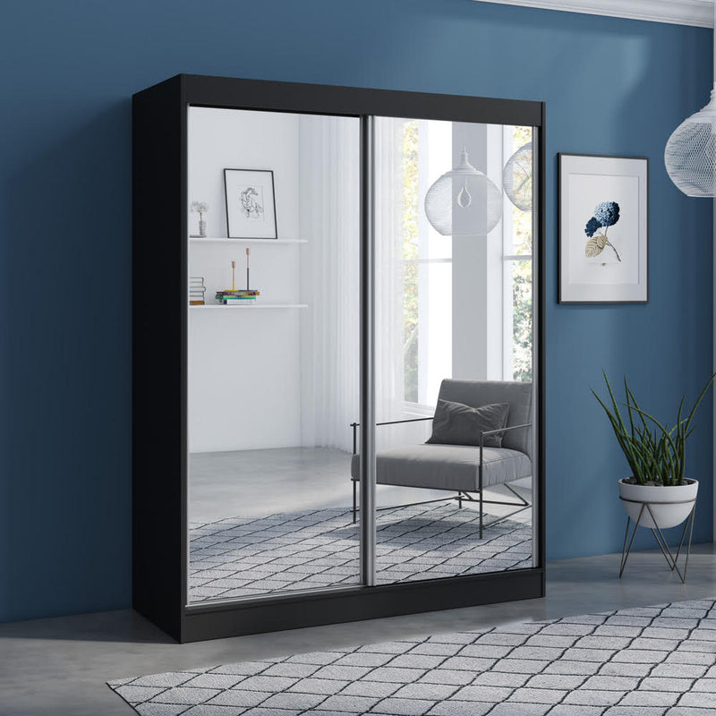 "Aria 2 Door Modern 47""/59"" Wardrobe with All Mirror Fronts - Meble Furniture"