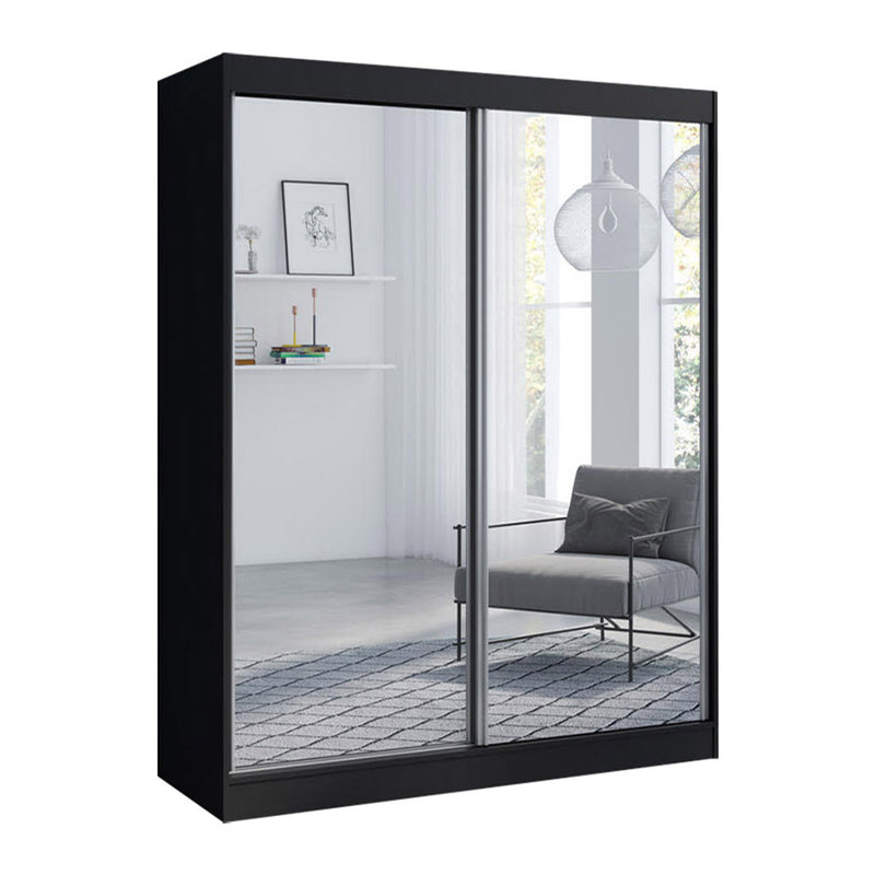"Aria 2 Door Modern 47""/59"" Wardrobe with All Mirror Fronts - Meble Furniture & Rugs"