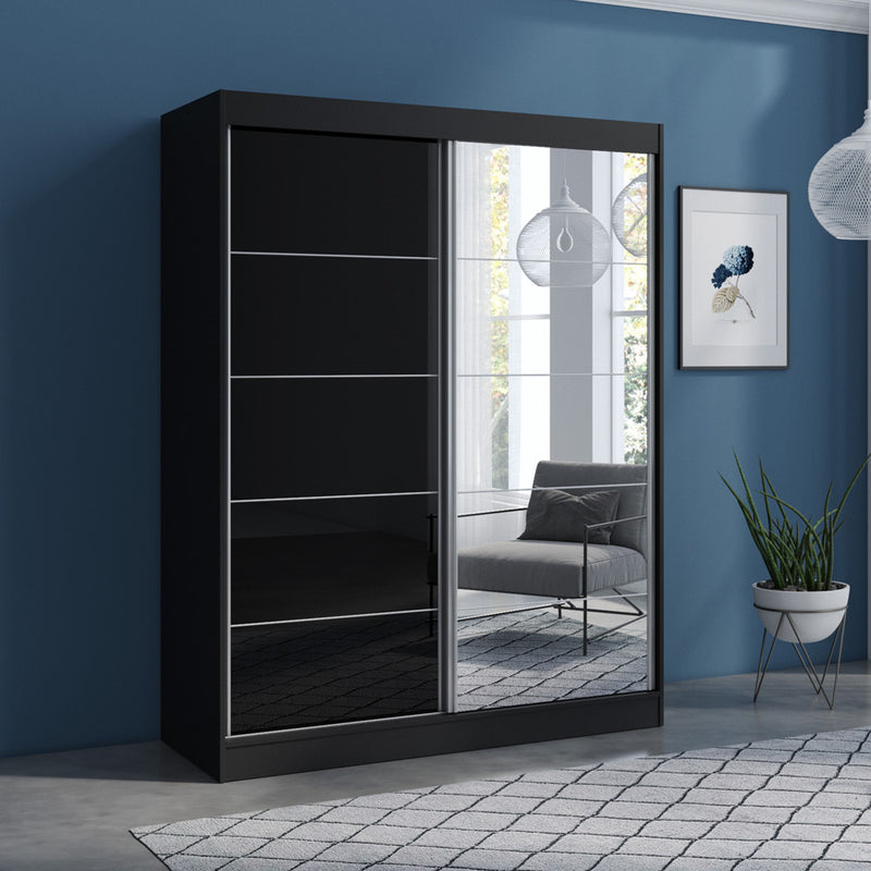 "Aria 2 Door Modern 47""/59"" Wardrobe with Mirror - Meble Furniture & Rugs"