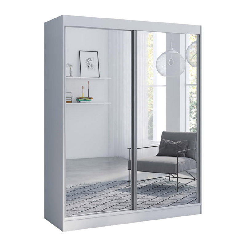 "Aria 2 Door Modern 47""/59"" Wardrobe with All Mirror Fronts"