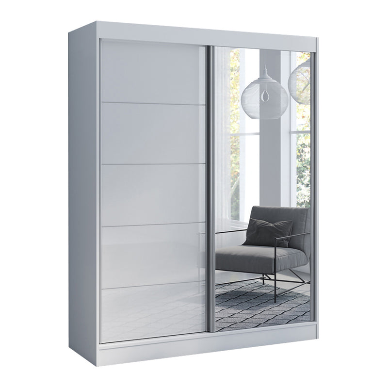 "Aria 2 Door Modern 47""/59"" Wardrobe with Mirror"