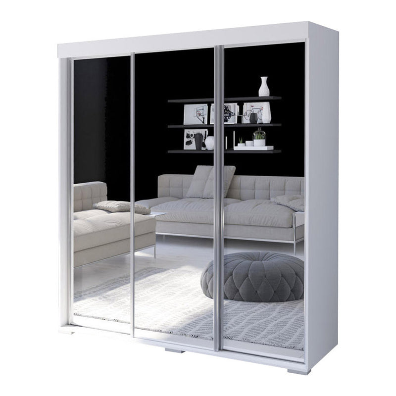 "Aria 3 Door Modern 71"" Wardrobe with All Mirror Fronts - Meble Furniture & Rugs"