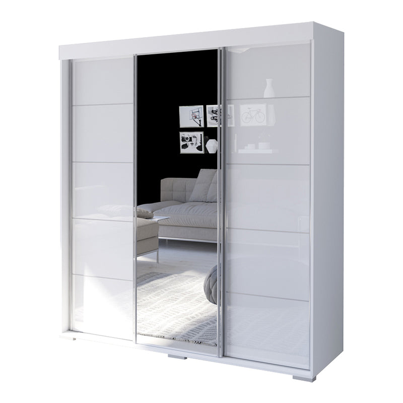"Aria 3 Door Modern 71"" Wardrobe with Mirror - Meble Furniture & Rugs"