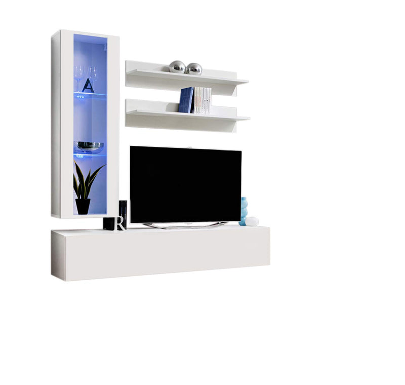 MEBLE FURNITURE & RUGS Wall Mounted Floating Modern Entertainment Center Fly H, White, H2