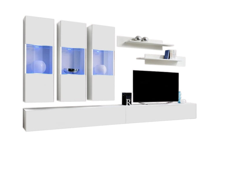 MEBLE FURNITURE & RUGS Wall Mounted Floating Modern Entertainment Center Fly E