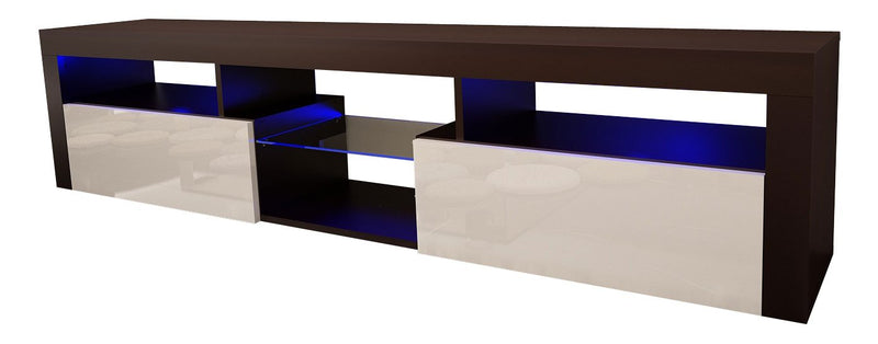 "Meble Furniture & Rugs Bari 200 Wall Mounted Floating 79"" TV Stand with 16 Color LEDs Black/White"