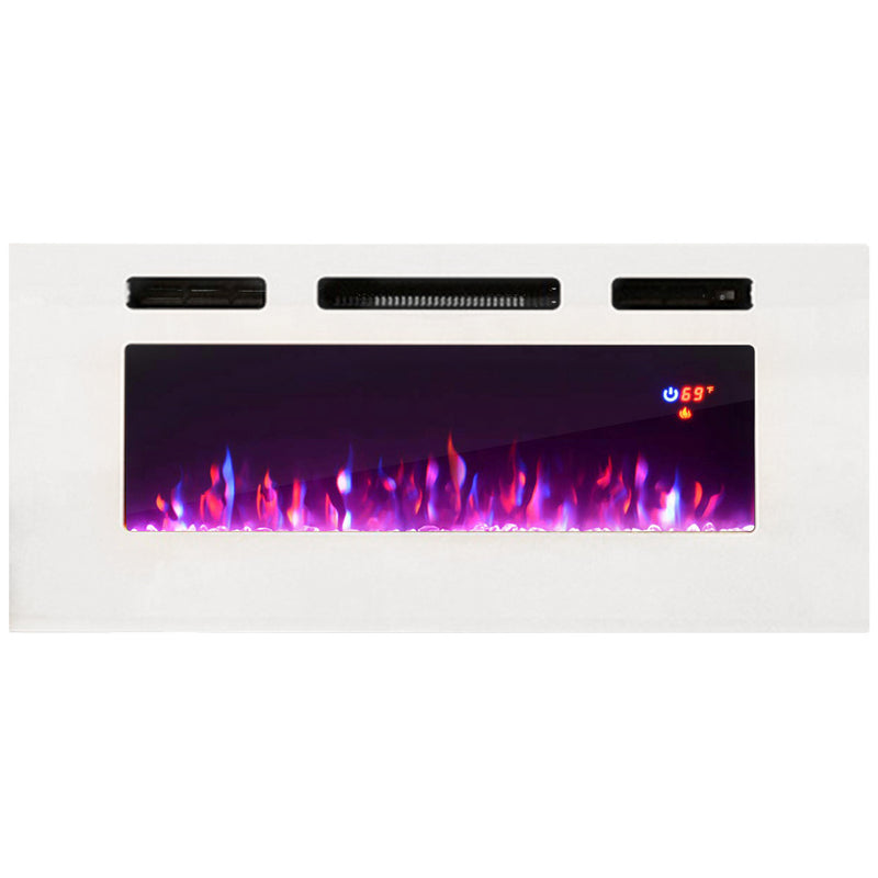 "40"" Electric Fireplace Recessed Wall Mounted Heater - Meble Furniture"