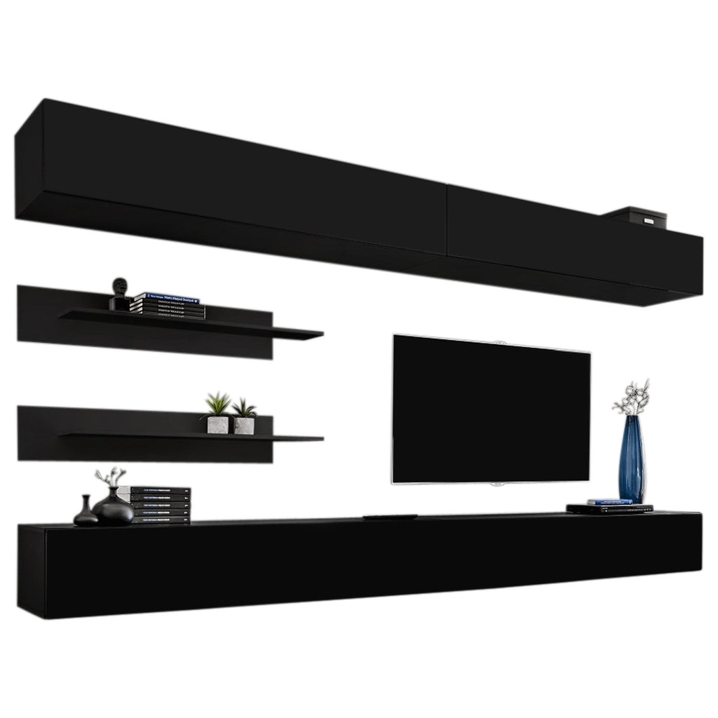 MEBLE FURNITURE & RUGS Wall Mounted Floating Modern Entertainment Center Fly I (Black, I1)