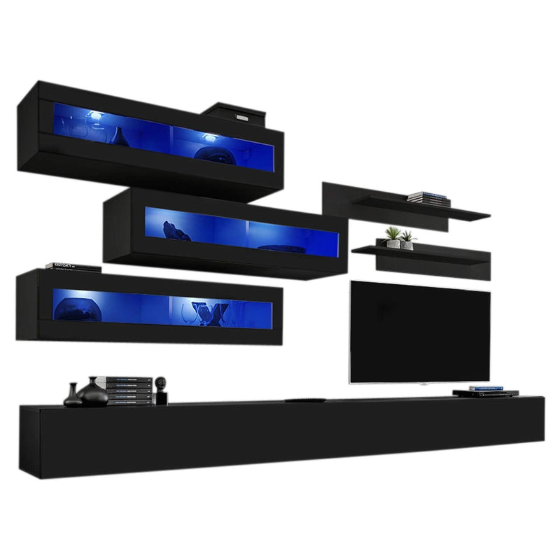 MEBLE FURNITURE & RUGS Wall Mounted Floating Modern Entertainment Center Fly K, Black, K1