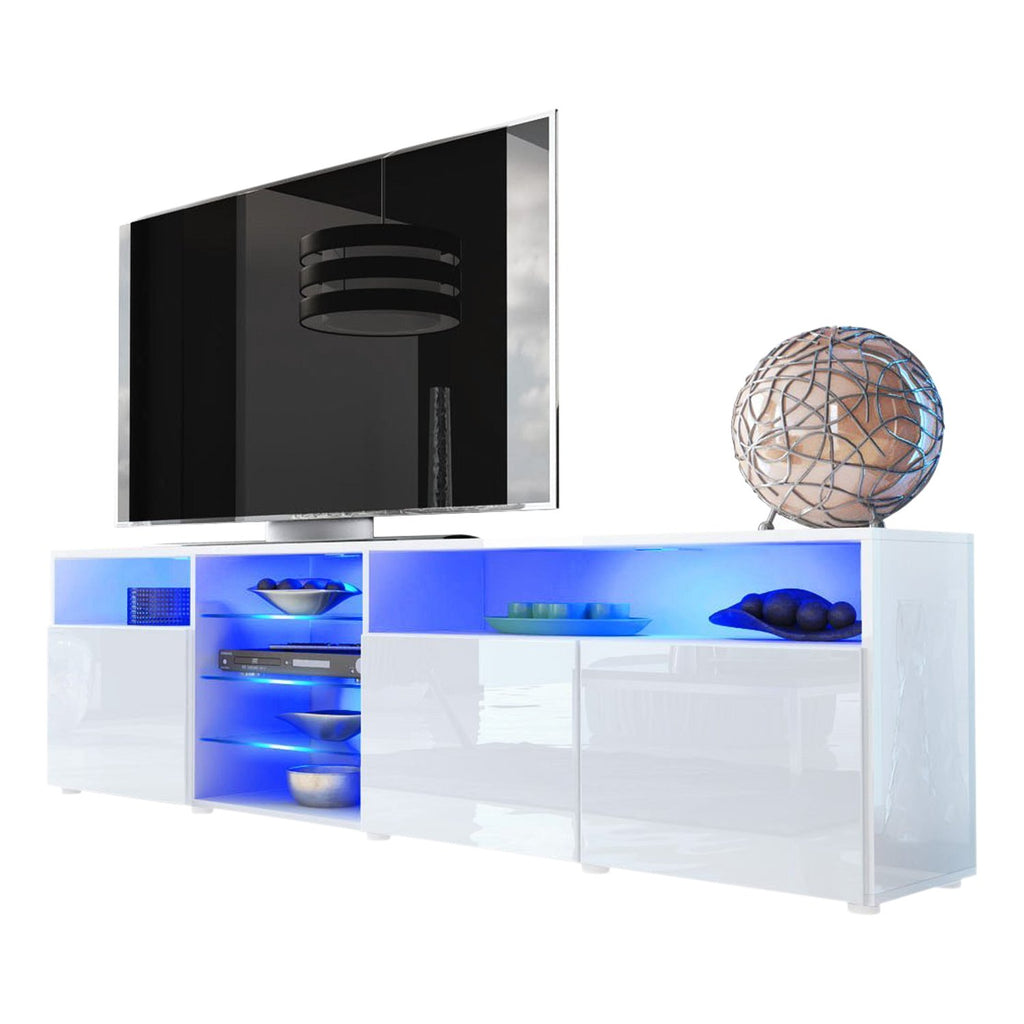 Meble Furniture & Rugs TV Stand Roma Matte Body High Gloss Doors Modern TV Stand LED