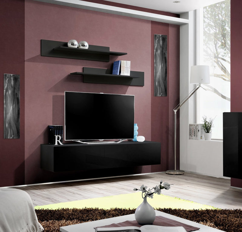 MEBLE FURNITURE & RUGS Wall Mounted Floating Modern Entertainment Center Fly I