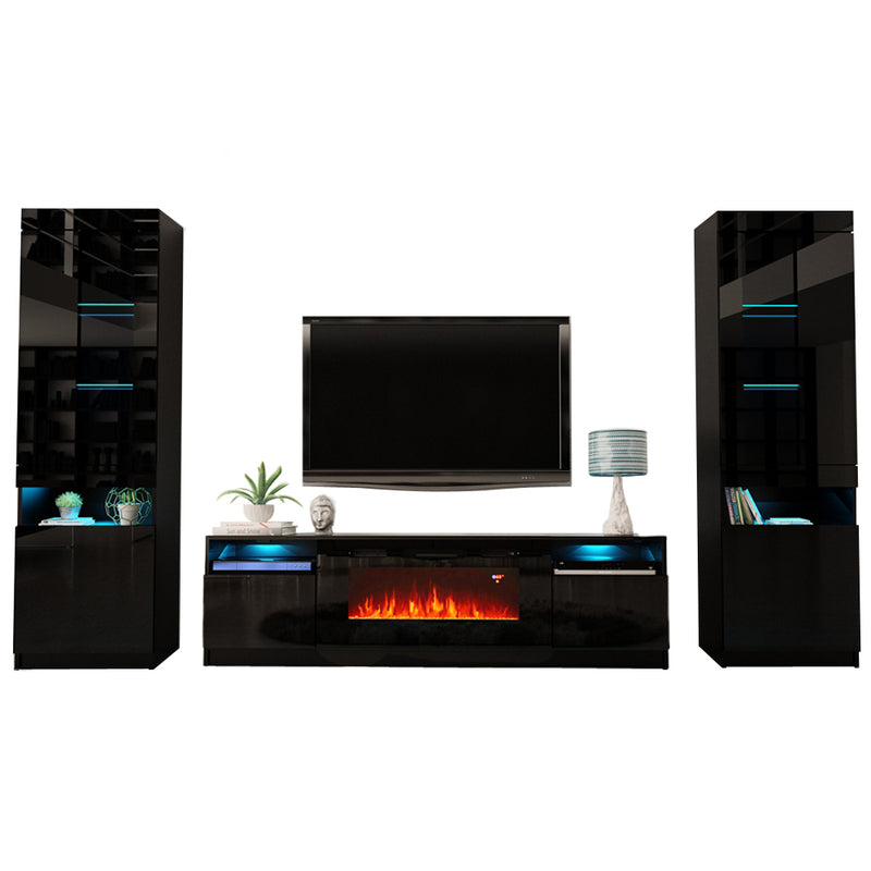 York 02 Electric Fireplace Modern Wall Unit Entertainment Center