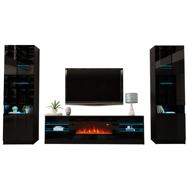 Boston 01 Electric Fireplace Modern Wall Unit Entertainment Center - Meble Furniture