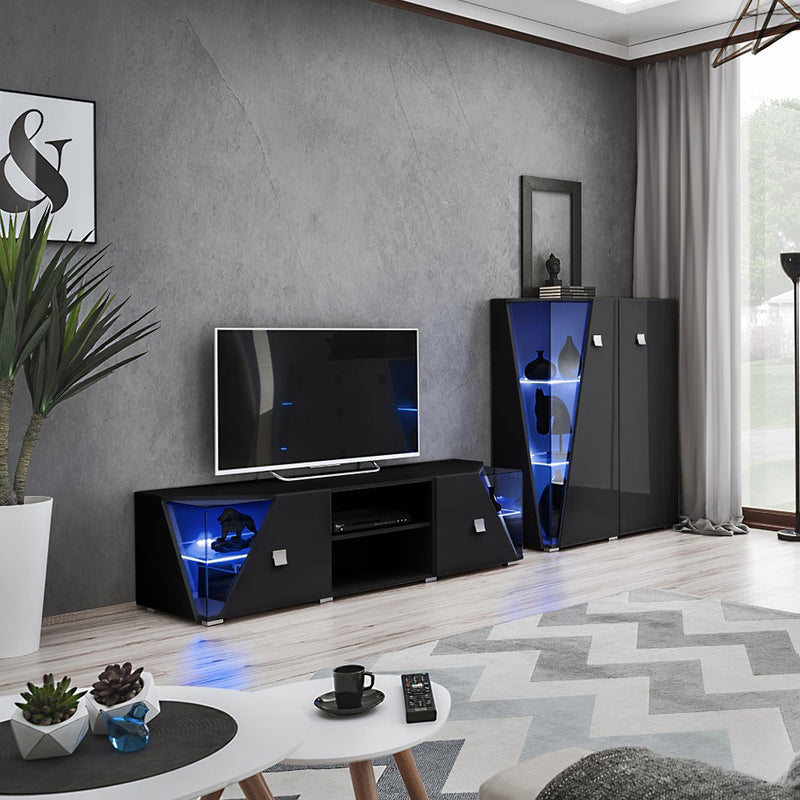 Edge Set TV-CUR Modern Wall Unit Entertainment Center - Meble Furniture