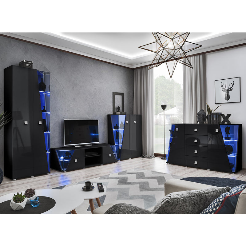 Edge Set TV-BK-CUR-SB Modern Wall Unit Entertainment Center - Meble Furniture