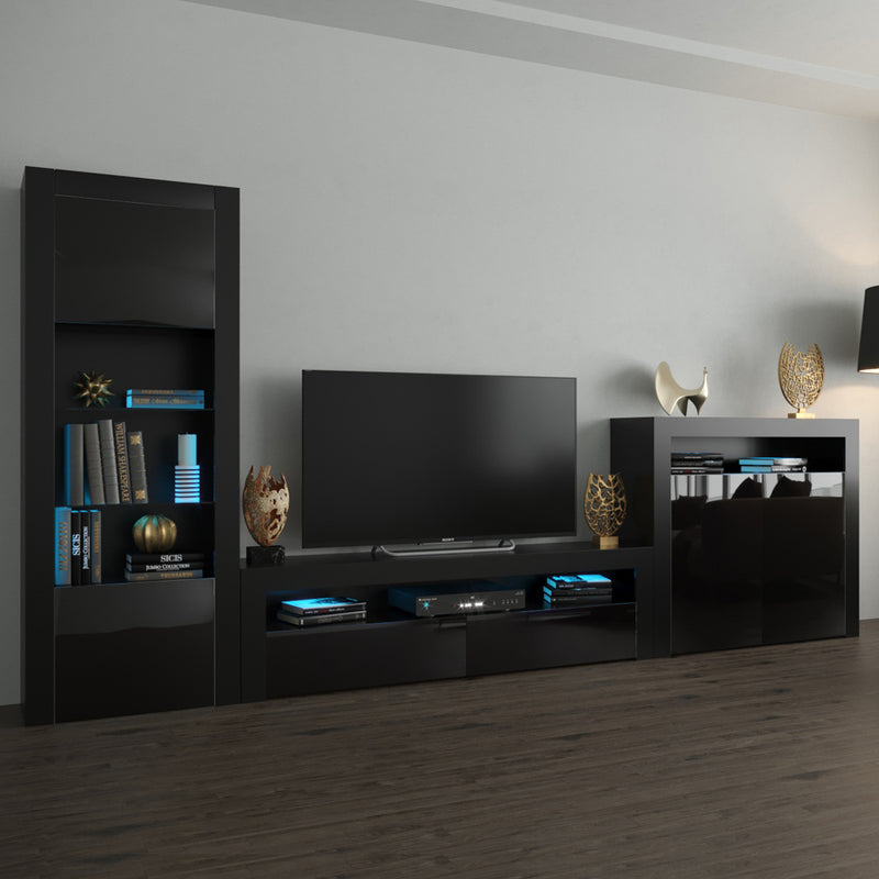 Milano Set CLA-BK-2D Modern Wall Unit Entertainment Center - Meble Furniture