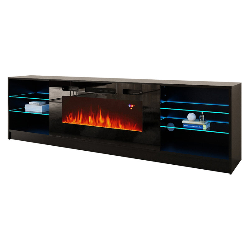 "Boston 01 Electric Fireplace Modern 79"" TV Stand - Meble Furniture"