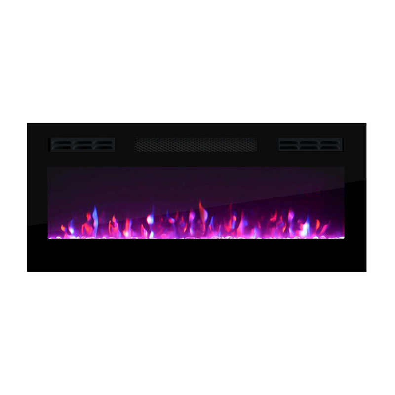 "31.5"" Electric Fireplace Recessed Wall Mounted Heater - Meble Furniture"