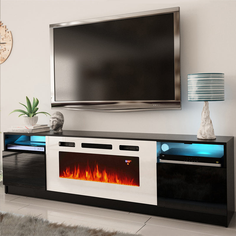 York WH02 Electric Fireplace Modern Wall Unit Entertainment Center - Meble Furniture