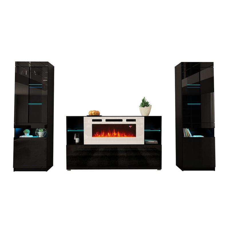 Komi WH03 Electric Fireplace Modern Wall Unit Entertainment Center - Meble Furniture & Rugs