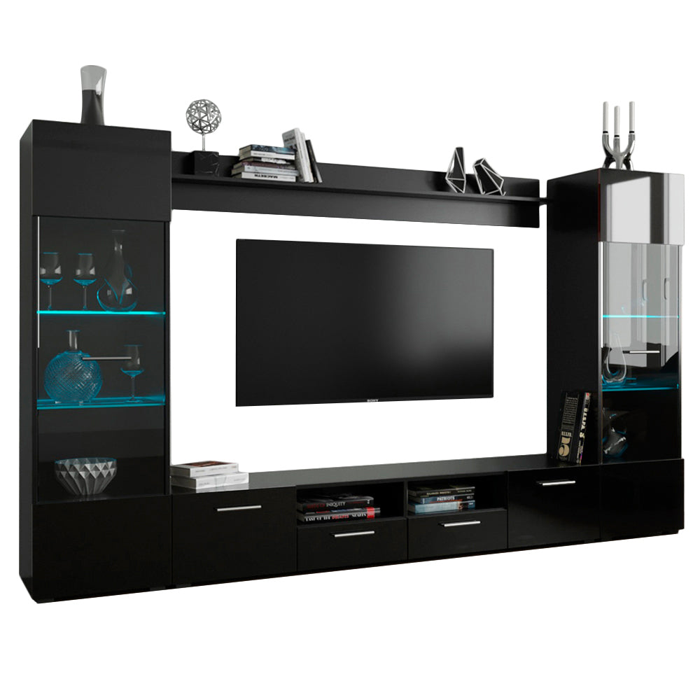 MEBLE FURNITURE /& RUGS Modica Modern Entertainment Center Wall Unit with LED Lights 65 TV Stand
