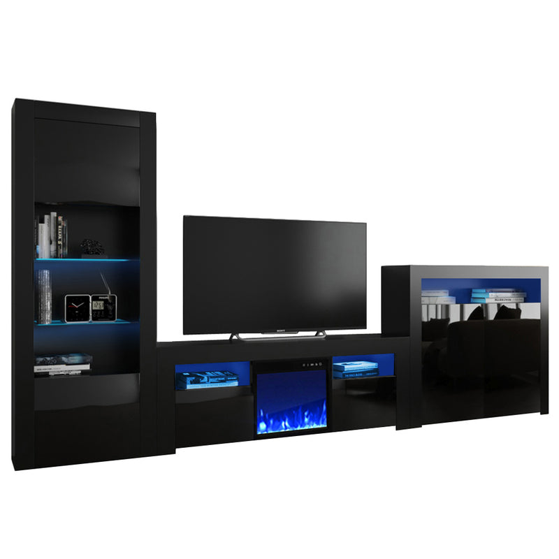 Milano Set 145EF-BK-2D Electric Fireplace Modern Wall Unit Entertainment Center - Meble Furniture