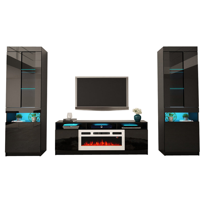 Reno WH05 Electric Fireplace Modern Wall Unit Entertainment Center - Meble Furniture