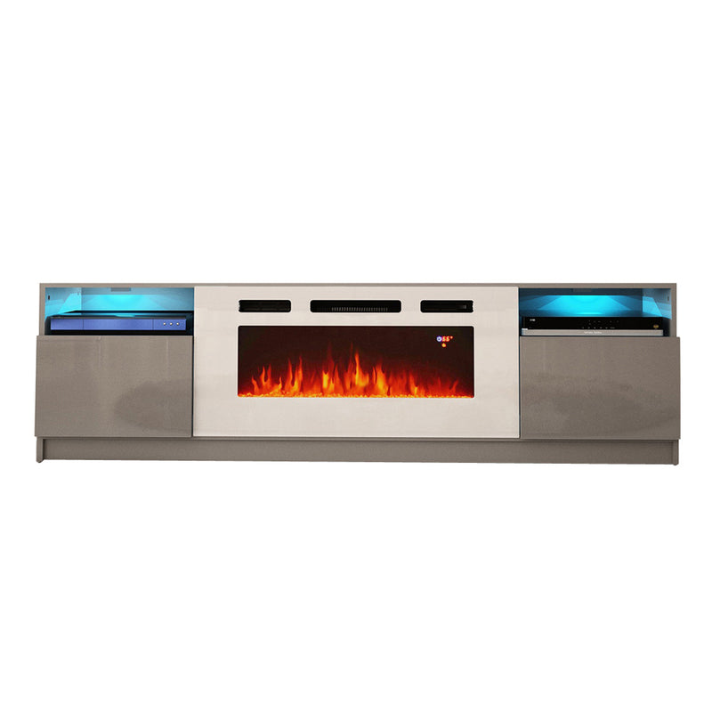 "York WH02 Electric Fireplace Modern 79"" TV Stand - Meble Furniture & Rugs"