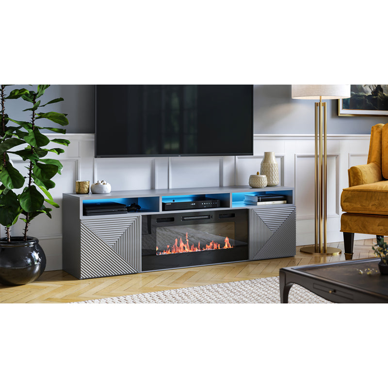 "Giza EF Wall Mounted Electric Fireplace Modern 63"" TV Stand - Meble Furniture"