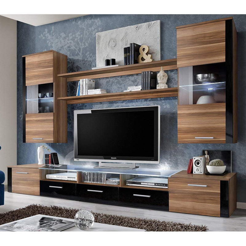"Fresh Modern 98"" Wall Unit Entertainment Center - Meble Furniture & Rugs"
