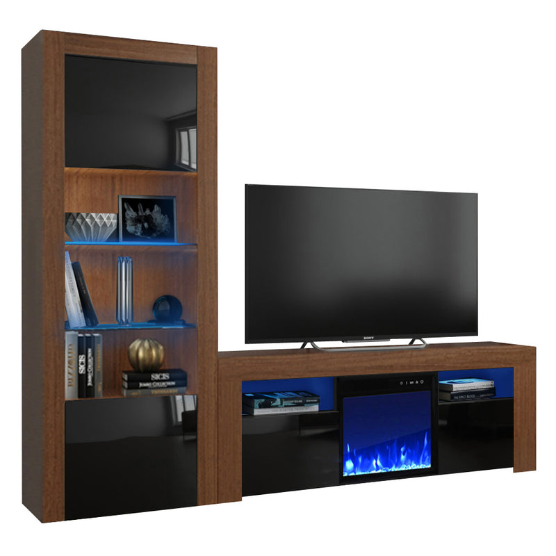 Milano Set 145EF-BK Electric Fireplace Modern Wall Unit Entertainment Center - Meble Furniture