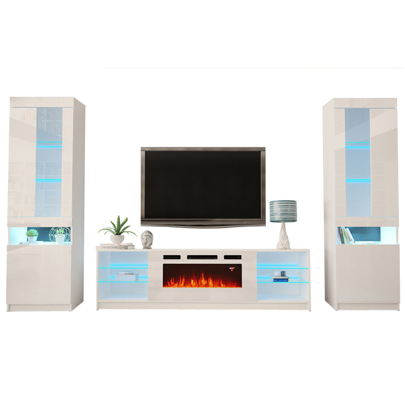 Boston WH01 Electric Fireplace Modern Wall Unit Entertainment Center - Meble Furniture