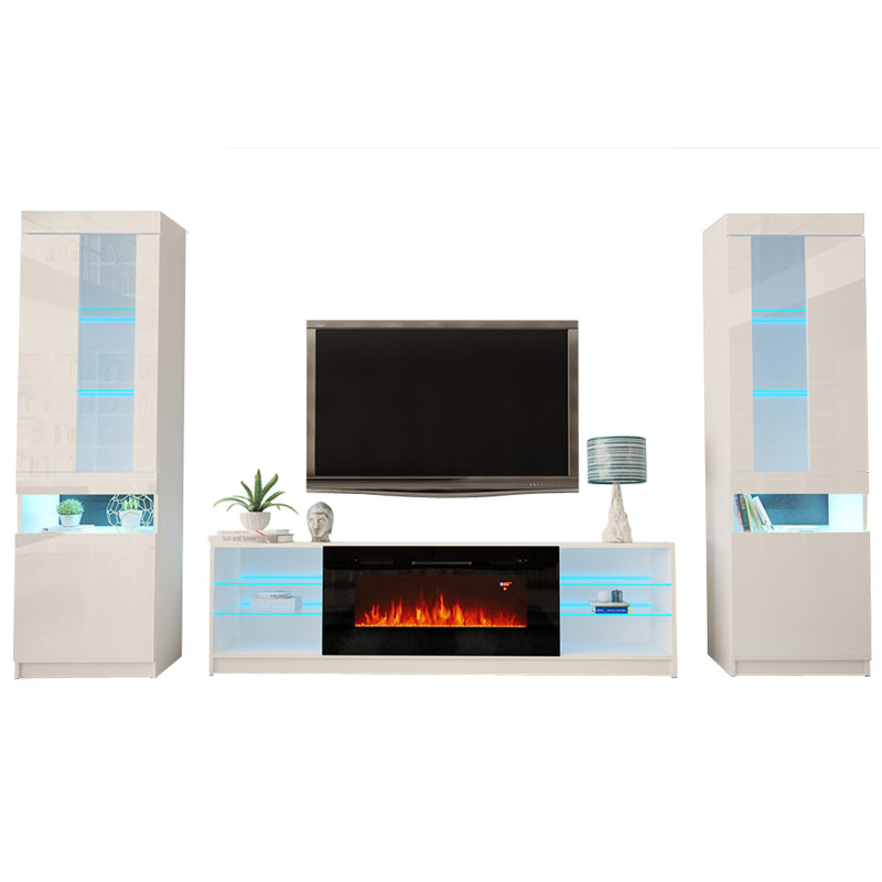 Boston 01 Electric Fireplace Modern Wall Unit Entertainment Center