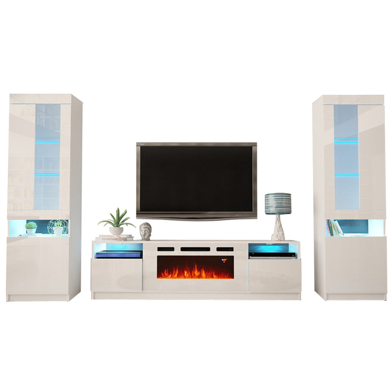 York WH02 Electric Fireplace Modern Wall Unit Entertainment Center - Meble Furniture & Rugs