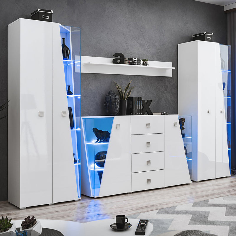 Edge Set SB-BK-BK-SH Modern Wall Unit Entertainment Center - Meble Furniture
