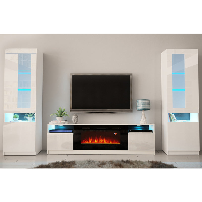 York 02 Electric Fireplace Modern Wall Unit Entertainment Center - Meble Furniture & Rugs