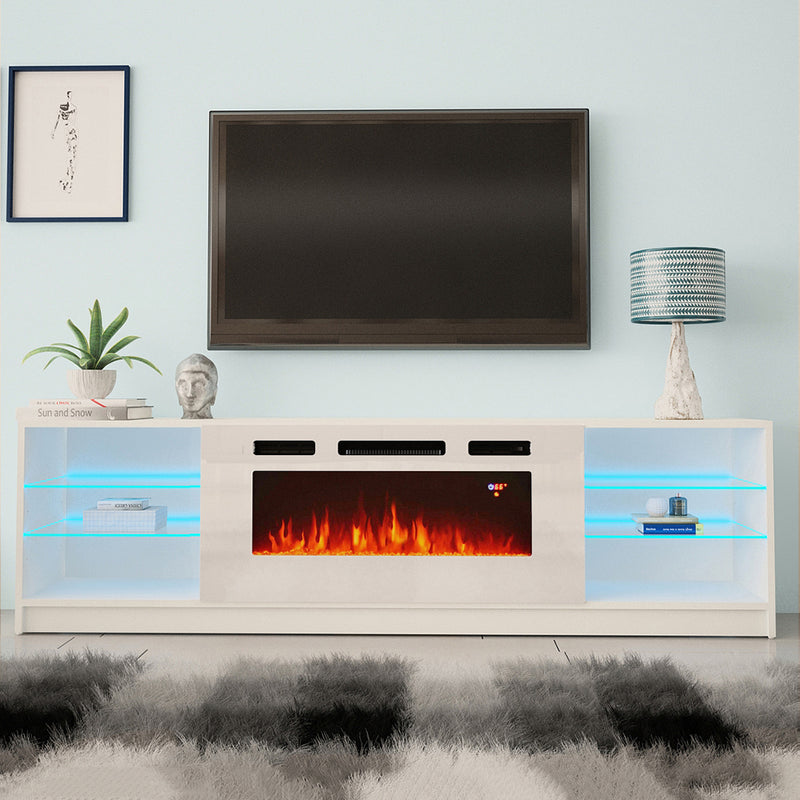 "Boston WH01 Electric Fireplace Modern 79"" TV Stand - Meble Furniture"