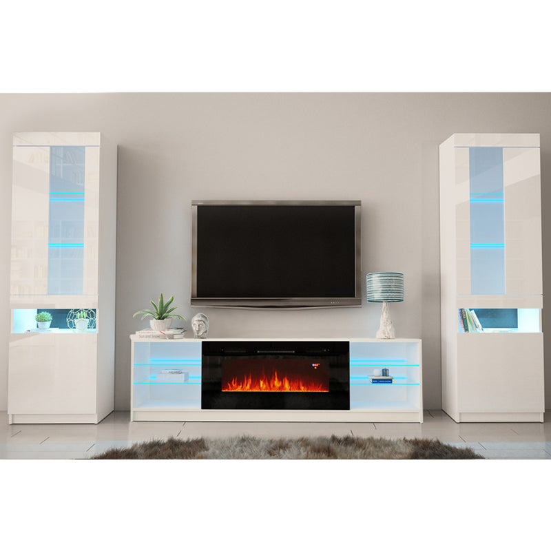 Boston 01 Electric Fireplace Modern Wall Unit Entertainment Center - Meble Furniture & Rugs