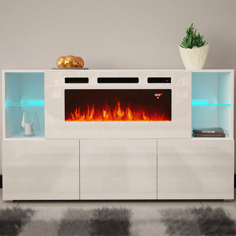 Komi WH03 Electric Fireplace Modern Wall Unit Entertainment Center - Meble Furniture