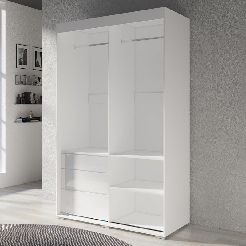 "Monaco 2 Door Modern 55"" Wardrobe with Mirror - Meble Furniture"