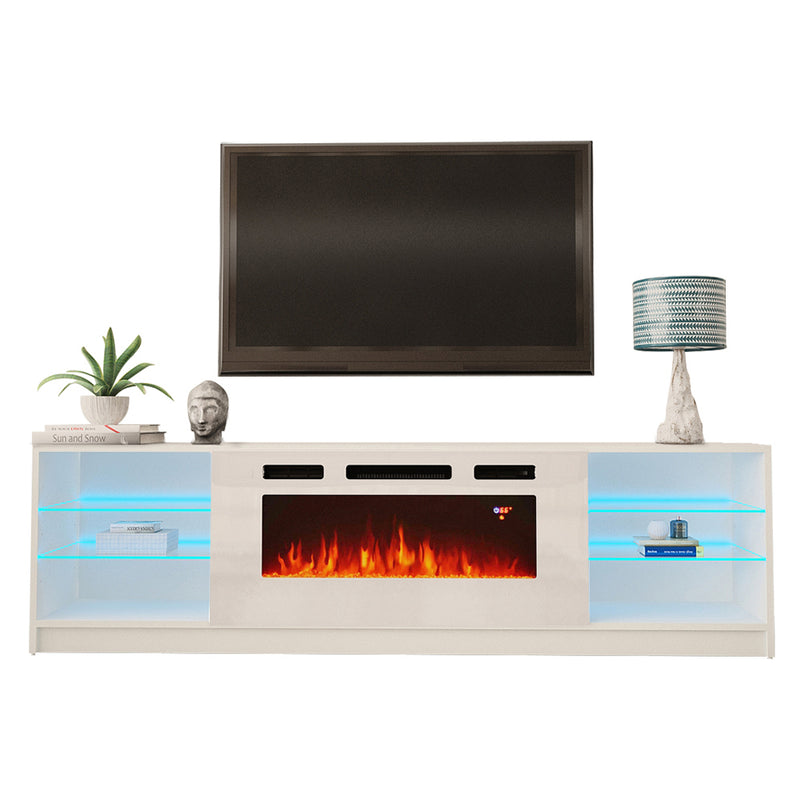 "Boston WH01 Electric Fireplace Modern 79"" TV Stand - Meble Furniture & Rugs"