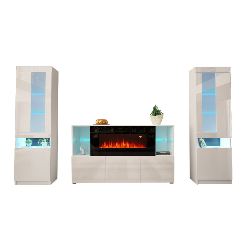 Komi 03 Electric Fireplace Modern Wall Unit Entertainment Center